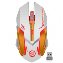 Mouse Óptico Gamer AZZOR D9 Inalámbrico Recargable Leds RGB White