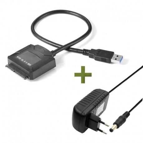 """Adaptador Cable USB 3.0 a Sata Disco Duro SSD 2.5"""" y 3.5"""" + Fuente 12V"""