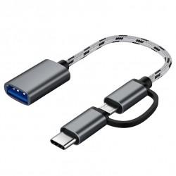 Adaptador USB Tipo C y Micro USB a USB 3.0 OTG Smartphones Macbook
