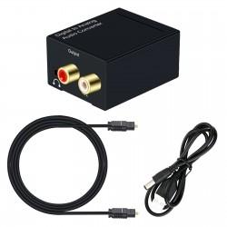 Conversor de audio Digital a Análogo Óptico Coaxial a RCA R+L y 3.5mm