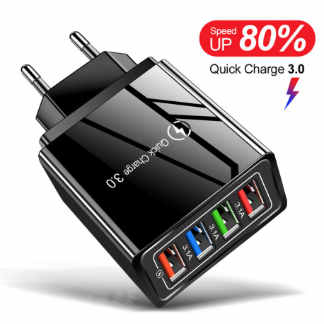 Cargador Rápido USB 3 Puertos 3.1a + Puerto Quick Charge 3.0